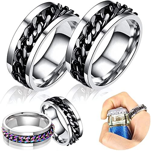 Mantimes Abridor de anillo de 7 mm de titanio pulido de acero inoxidable herramienta de apertura de botella removedor de tapa de la joyería de la calle ornamento plata tamaño 12 (2 piezas) (12, negro)