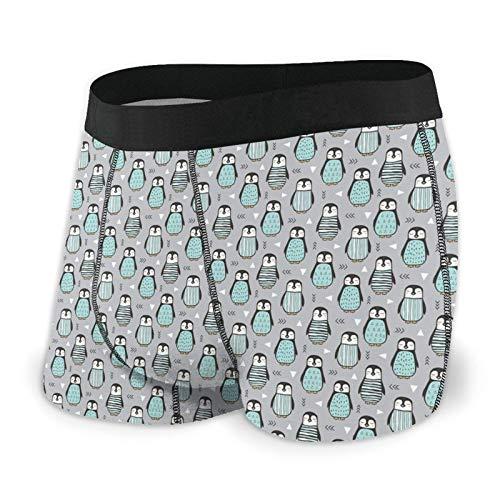 Nuwcense Herren-Boxershorts, Pinguine mit Pullover, geometrische Trunks, schnell trocknende Unterwäsche Gr. XXL, Schwarz