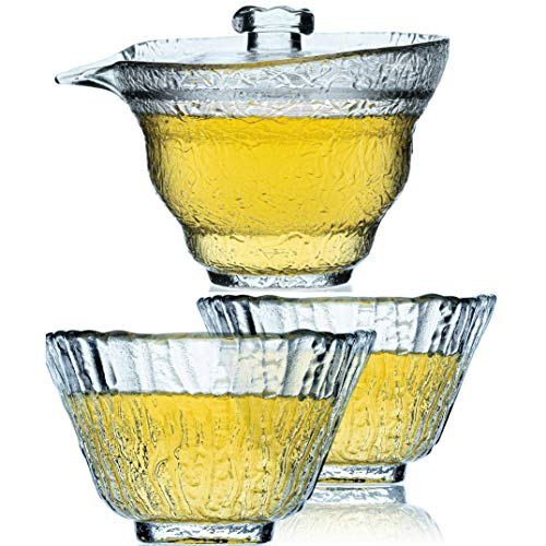 Thee Set Van Kristal Glas - Chinese Set Met Gaiwan En 2 Glazen Bekers - Chinese Gongfu Glazen Theeset - 120 ml Gaiwan - 2 50ml cups