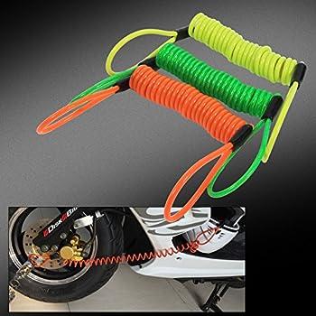 Antivol à Ressort pour Motos Vélos Câble Bloque Disque Frein 1.5m avec Corde de Rappel pour Moto Bicyclette Scooter - 3 Couleurs ( Couleur : Jaune )