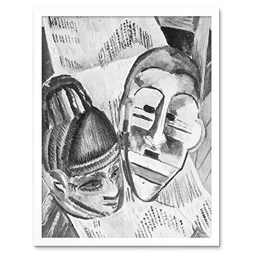 Wee Blauwe Coo Schilderijen Tekenen Zwart Wit Afrikaanse Maskers Art Print Ingelijste Poster Muurdecoratie 12X16 Inch