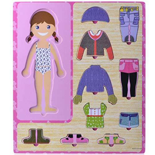 Luccase Kinder Puzzle Dress Up Toy Holz Magnetische Saug Puzzle DIY Cross Dressing Kinder Karikatur Pädagogisches Spielzeug Geschenk