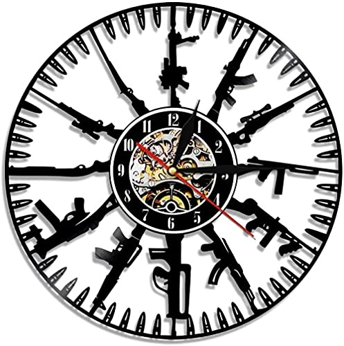 yltian Reloj de Pared con Disco de Vinilo de Bullet Time, Arma Moderna, Reloj de Pared Militar, Reloj Familiar con Armas, Regalos para fanáticos Militares y Militares