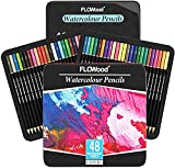 Juego de 48 lápices de acuarela de FLOWood Art Supplies, Soft Core Professional Water Colored Pencils para Adult Coloring, Color Pencils Ideal para Drawing, Coloring en Iron Box