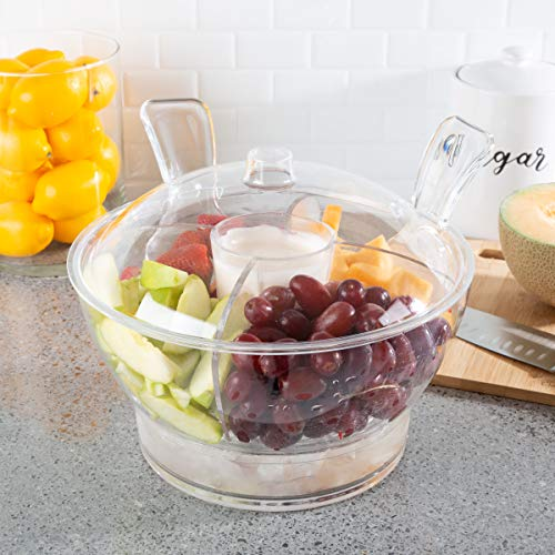 Classic Cuisine Large Cold Server with Lid, Dip Bowl, Serving Utensils, Dividers, and Ice Compartment-For Chips, Punch, Fruit, or Salad, 11x10, Clear