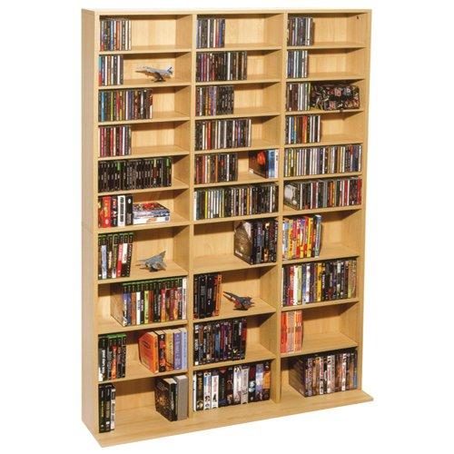 Atlantic Oskar Adjustable Media Cabinet - Holds 1080 CDs, 504 DVDs or 576 Blu-Rays/Games, 30 Adjustable and 6 Fixed Shelves PN38435715 in Maple