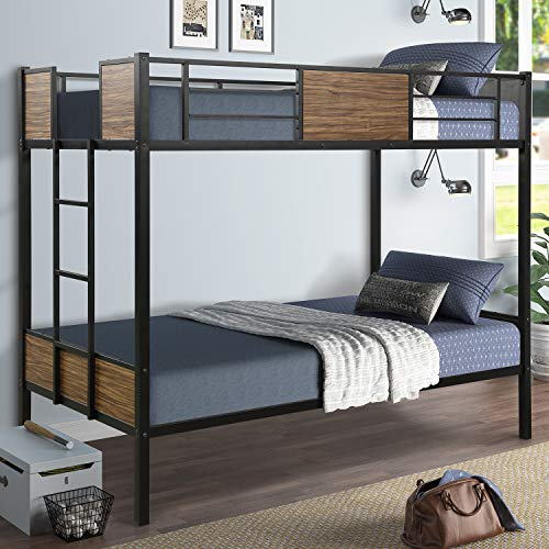 Danxee Twin-Over-Twin Bunk Modern Style Bed Easy Assembly Quick Lock Classic Metal Bunk Bed with...