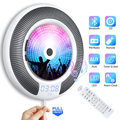 Portable CD Player with Bluetooth Wall Mountable Gueray Built-in HiFi Speakers with LCD Screen Display Home Audio FM Radio USB MP3 Music Player 3.5mm AUX Jack Cable Switch & Remote Control White