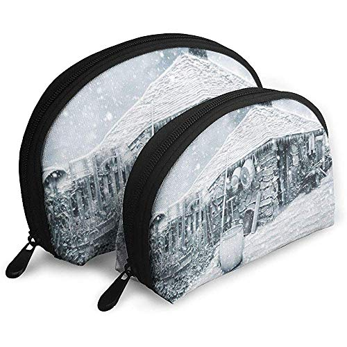 Winter House Snow Borse portatili Borsa per trucco Borsa da toilette, Borse da viaggio portatili multifunzione Piccola pochette per trucco con cerniera