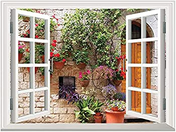 Tuscan Open Window Mural Canvas Wall Sticker,Begonia Blossoms in Box Window Wooden Shutters Brick Wall Romagna Italy Canvas Poster Wall Decor,Adhesive Canvas Oil Painting,Orange White Green,24 x32