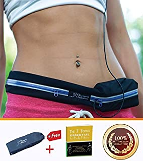 Running Belt, Treadmill Waist-belt Pouch for Men & Women for Storing iPhone, Keys, Wallets, ID Cards Secure during Workouts, Hiking, Marathon, Gym etc - Made of Water Resistant Elastic Stretch Material