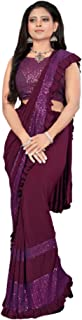 Indian Party Lycra Frill Fancy Sequin D Sari Eid Blouse PRE Stitched 1 Minute Saree 6380