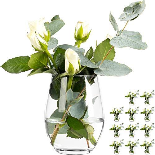 12 Stück Elegante Vase Vasen Set Blumenvase aus Glas Tischvase Glasvase Dekovase Deko Väschen