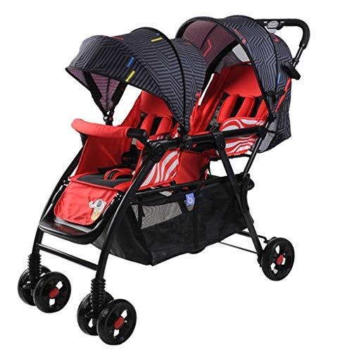 BGTRRYHY Twins Doppel-Kinderwagen für Kleinkinder, zusammenklappbar, zum Sitzen und Liegen