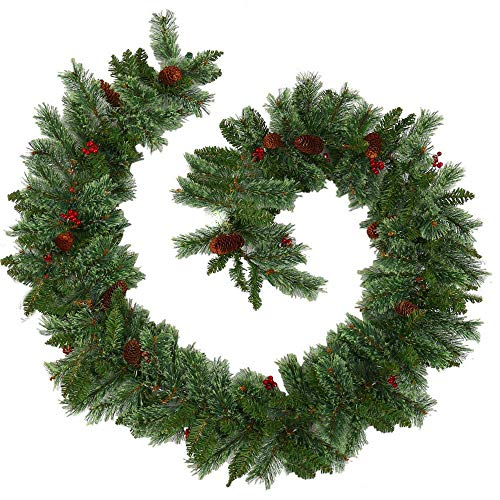 XIAO WEI 9FT 2.7M Christmas Garland Decoration Ornate Berry Garland Green Artificial Garland for Staircase Fireplaces Indoor and Outdoor Christmas Tree Decoration (Red Berries)