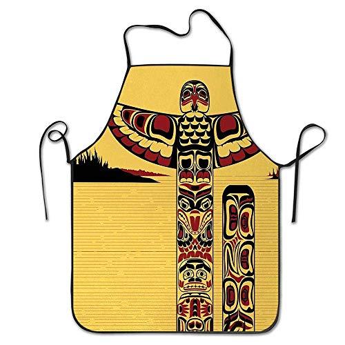 Not Applicable Illustration des nordamerikanischen Totempfahl-Alten Geistes Native Artsy Schürze Unisex-Küchen-Latzhals zum Kochen Gartenarbeit, Erwachsenengröße