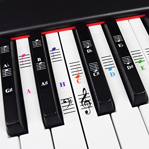 Klavier und Keyboard Musiknoten Ganzes Set Aufkleber für Weiße und Schwarze Tasten mit Klavierliedern E-Book für Einfache Klavierlektionen; Transparent und Entfernbar