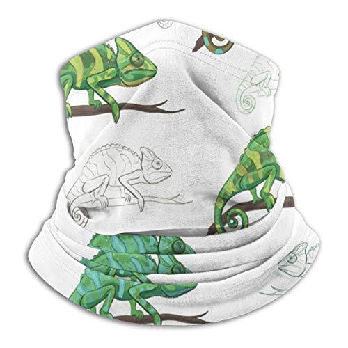 Akhy Multifunctional Headwear Face Mask Headband Neck Gaiter Chameleon on A Branch Balaclava for Men and Women
