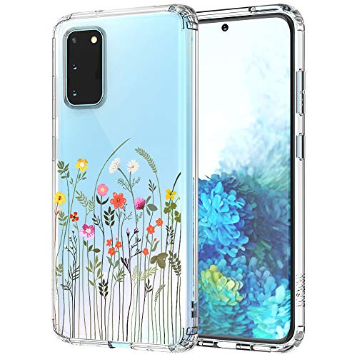 MOSNOVO Galaxy S20 Case, Wildflower Clear Design Pattern Printed Transparent Plastic Hard Back Case with TPU Bumper Protective Case Cover for Samsung Galaxy S20