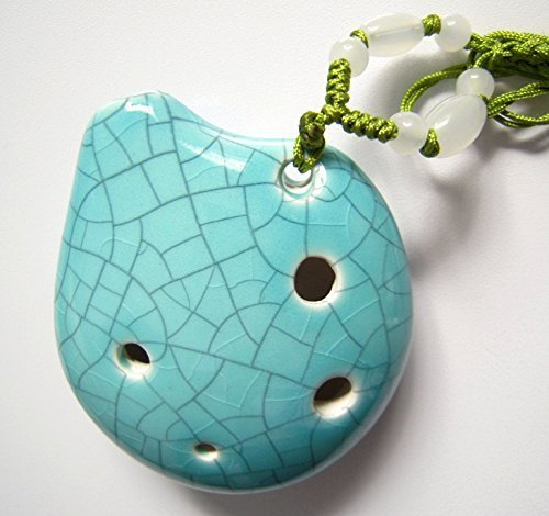 Harmony 6 Holes Soprano C Ceramic Ocarina - Dexterous, Easy to Learn, Good for Beginner & Great Gift! Linn's Arts! (Jade Crackle)