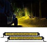 SAMMAN 10Inch LED Light Bar 78W Yellow Spot Flood Combo Beam Driving Light Off Road Light Bar Fog Light for Truck Pickup Jeep SUV ATV UTV 2PCS …