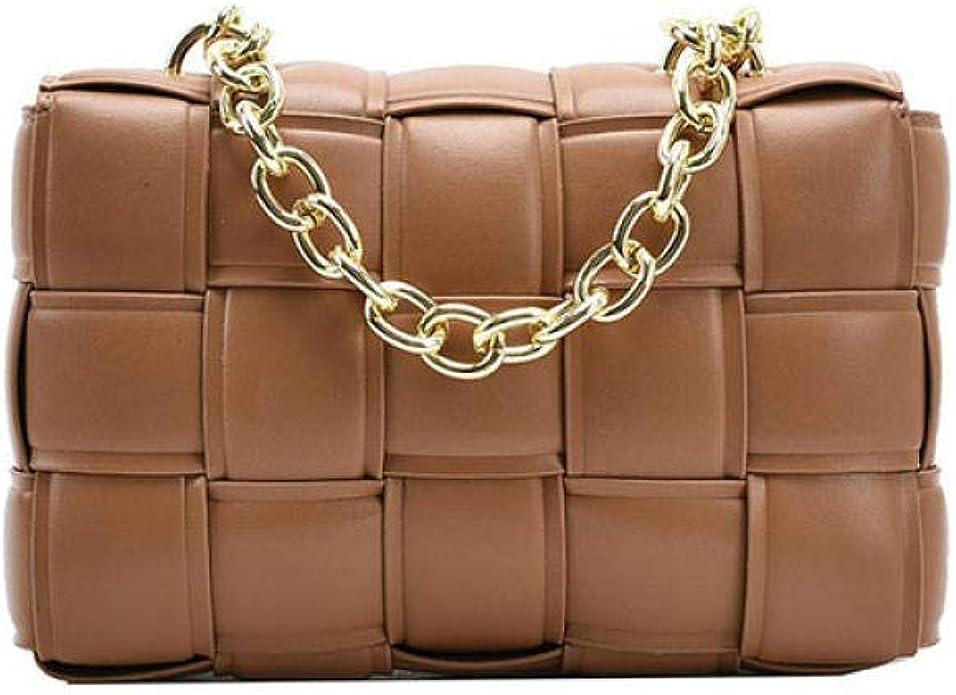 ArtZhou Women Crossbody Bag Weave Flap Bags for Women Quality Leather Thick Chain Shoulder Messenger Bags Female Handbag and Purse, Brown: Handbags: Amazon.com