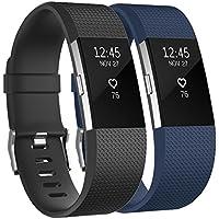 Tobfit Fitbit Charge 2 - Correa ajustable de repuesto para Fitbit Charge 2 - Tamaños: pequeño, grande, Classic 2-Pack Black+Blue