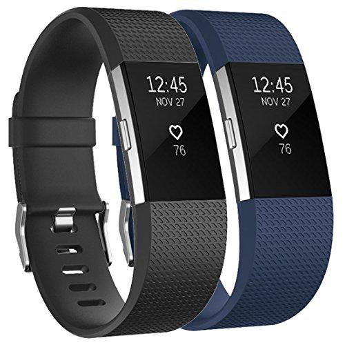 Tobfit Bracelet Compatible avec Fitbit Charge 2 Réglables Sport Accessorie Replacement Band pour Fitbit Charge 2 Fitness Wristband(Classique 2-Pack Noir+Bleu,L)