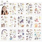 HOWAF Brillo Unicornio Tatuajes temporales Falso Tatuajes Pegatinas para niños niñas Fiestas Infantiles Fiestas Infantiles Fiesta de cumpleaños Regalo,12 Hojas