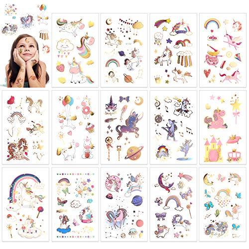 HOWAF Tattoo Kinder,Einhorn Tattoos Set,Glitzer Temporäre Tattoos Kinder,110 farbenfrohe Einhorn Kinder Tattoos Sticker für Kinder Mädchen Kindergeburtstag Mitgebsel Einhorn Party,14 Blatt