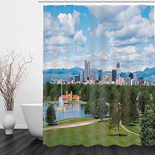BLZQA Duschvorhang Badewannenvorhang Duschvorhänge Schimmelresistenter & Wasserabweisend Shower Curtain mit 12 Duschvorhangringen 150 x 180 cm (Stadtblick)