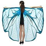 Lazzboy Frauen Schmetterlingsflügel Schal Cape Costume Accessory Schmetterling Kostüm Weiches Gewebe Schmetterlingsflügel Schal Fee Damen Nymph Pixie Zubehör Für Show/daily/party(Blau)