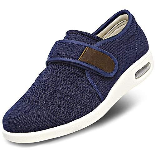 Herren Diabetiker-Ödema-Schuhe, leicht, Netzstoff, atmungsaktiv, verstellbar, einfaches An- und Ausziehen, für ältere Menschen, geschwollene Füße, breite Füße, Plantarfasziitis