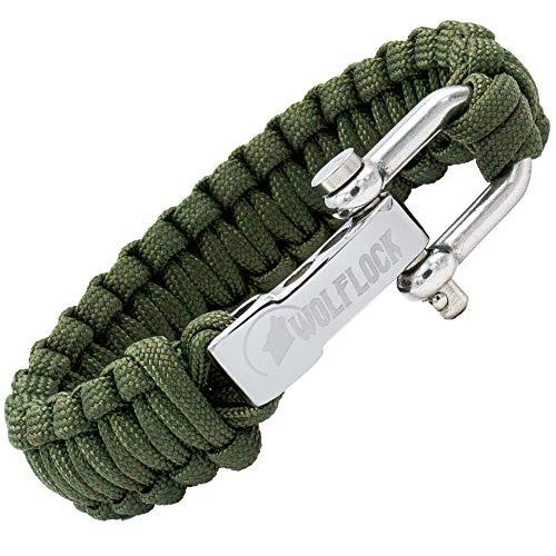 WOLFLOCK | Paracord Armband | Outdoor Survival Armband | Schwarz, Braun, Grün, Schwarz/Weiß | Schnellverschluss Edelstahl | Geschenk für Männer | SURVIVALIST