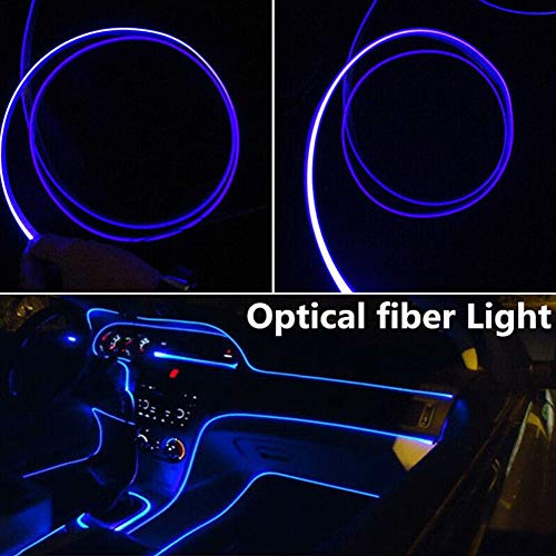 YOUNICER Coole 4M Auto LED Innenraum Umgebungslicht Streifen 12V Innenraum Auto Licht Band Beleuchtung Glasfaser Lampe Atmosphäre Dekoration