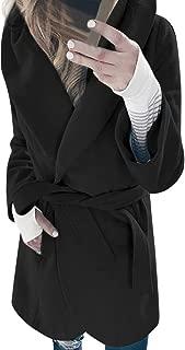 aliveGOT Women's Solid Winter Lapel Belted Wrap Wool Coat Outwear Cardigan