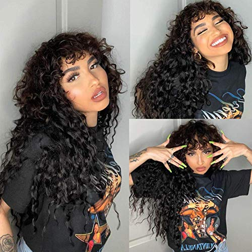 Water Wave None Lace Front Human Hair Wigs Silky Human Hair Wigs with Bangs 150% Density Water Wave Human Hair Wigs with Bangs Free Part Glueless Machine Made Wigs for Woman Natural Color