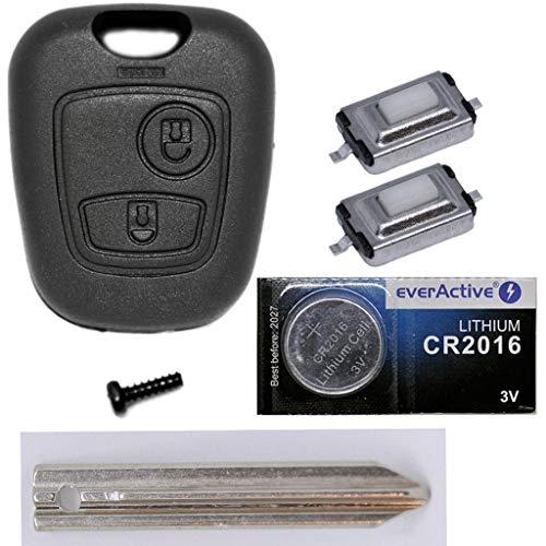 Mando a distancia para llave de coche, 1 carcasa + 1 unidad de llave SX9 + 2 micropulsadores + 1 batería CR2016 para Citroen/Peugeot/Toyota