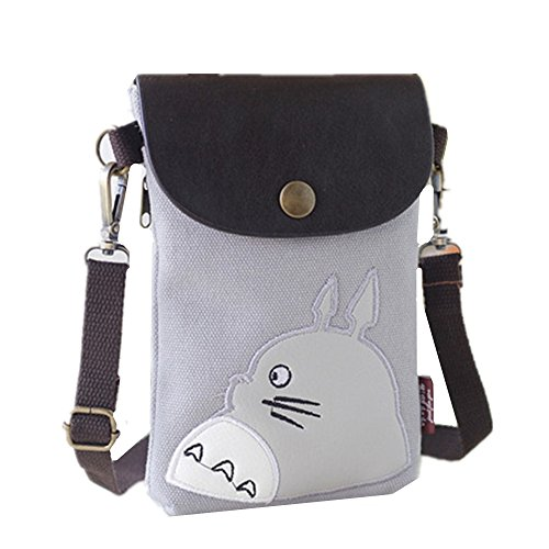 "Abaddon Canvas Small Cute Crossbody Cell Wallet Bag Phone Purse with Shoulder Strap (silver totoro), 18"" L x 13"" W x 2""H"
