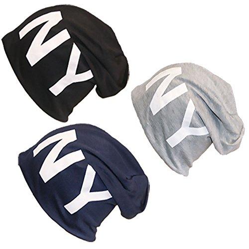 Jersey Motif New York Coton NY Long Slouch Bonnet Unisexe Bonnet Uni couleurs d'hiver automne - - XXL