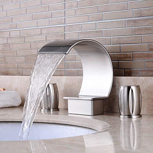 Grifo de lavabo de baño elegante de níquel cepillado con cascada curvada y dos asas, tres agujeros, latón y acero inoxidable