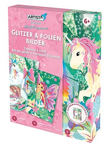 ARTISTA 9301921 Bastelset Glitzer-und Folienbilder Einhorn, DIY-Kit für Kinder, Kreativset in praktischer Aufbewahrungsbox