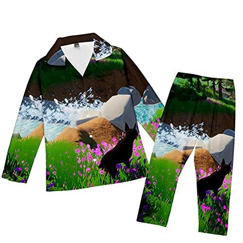 Pijamas Tipo cárdigan para Padres e Hijos 3D Puppy H1814N (H,XL,100% poliéster,FR/ES,Letras,Adulto,Unisex,XL,Regular,Regular,Autumn-Winter)