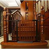 ZHONGXIN Madera Barrera de Seguridad para niños, Puerta de Seguridad 65-72cm, 75-82cm Niños Mascotas Bebé Puerta de la Escalera para Puertas Escaleras, Sin taladrar Extensible (Small,Brown)