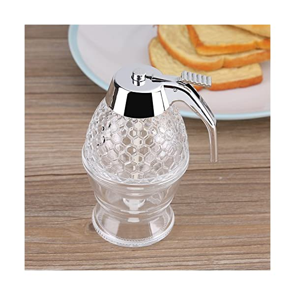 200 ml Dispensador de miel y sirope de vidrio sin goteo recipiente acrílico