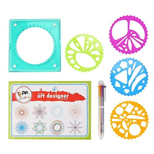 Tomanbery Suministros de papelería de plástico Colorido para niños, 5 Piezas, Regla de Dibujo en Espiral geométrica para Que los niños dibujen un patrón con lápiz y Papel de Colores