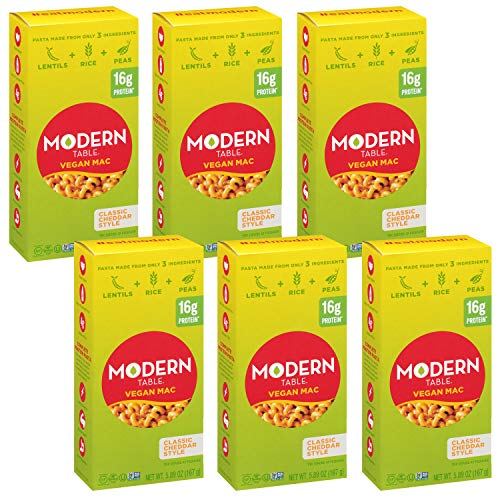 Modern Table Classic Cheddar Vegan Mac & Cheese, Complete Protein, 5.89 oz, 6 Count, Gluten Free, No Artificial Preservatives or Dyes, Certified Vegan