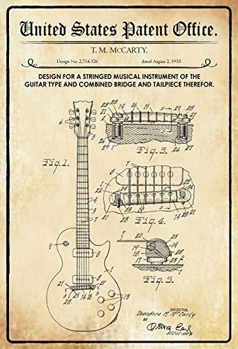FS Patent ontwerp voor gitaar -McCarty metalen bord bord gebogen metalen teken 20 x 30 cm