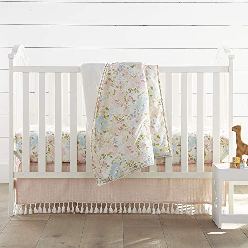 Levtex Baby Nest & Nod Amelia 3pc Bedding Set, Cotton, Pink, (Quilt, Dust Ruffle, Crib Fitted Sheet)