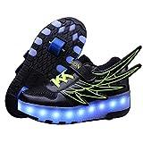 WFSH Zapatos de Rodillos para niñas niños niños Dual Rueda LED LED Parpadeante Skate Sneaker Zapatos (Color : C, Size : 31)